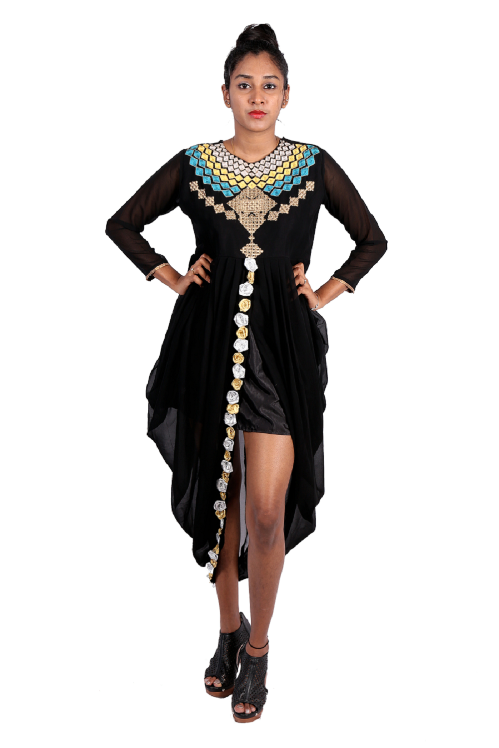 Black indo-western dress with neck embroidery