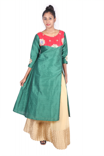 Red-Green long kurta and Beige skirt