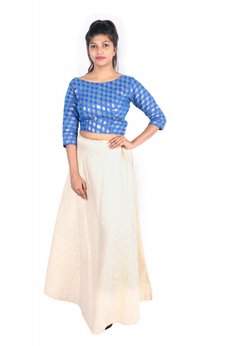 Chanderi crop top and Banarasi long skirt