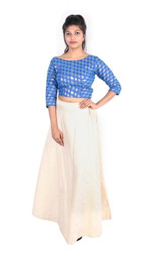 Chanderi crop top and Banarasi long skirt