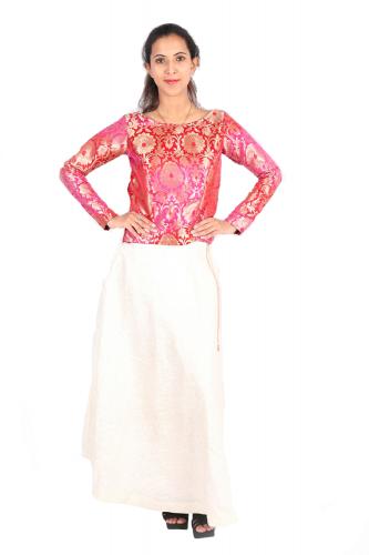 Banarasi silk crop top and long skirt