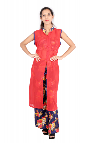 Red long kurta with palazzo and spaghetti