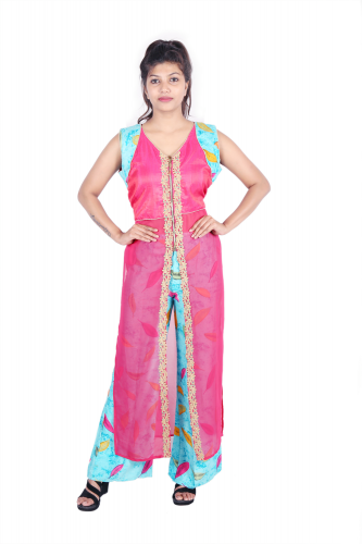 Pink long kurta with blue bottom