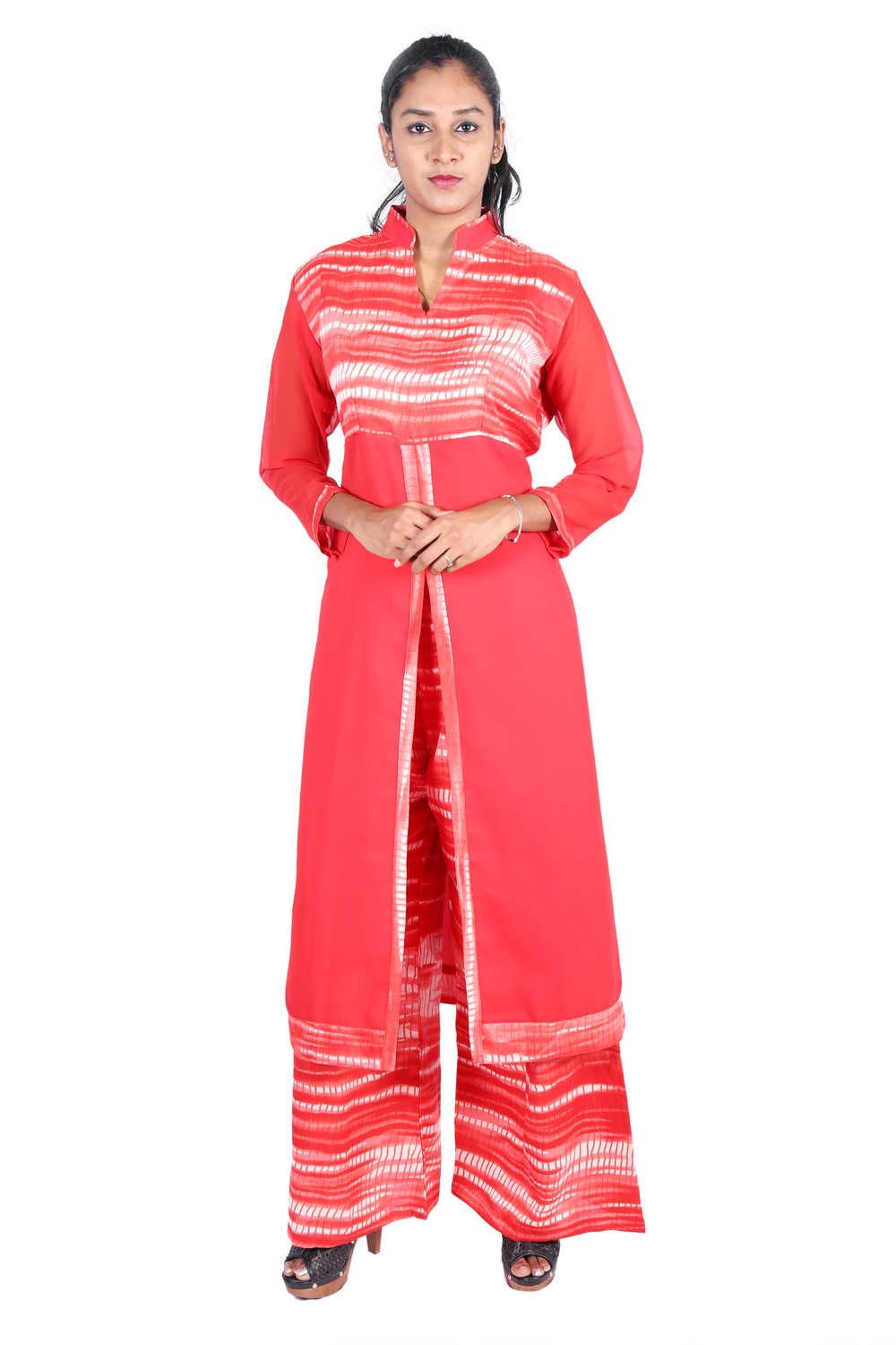 Red long kurta with pink printed palazzo