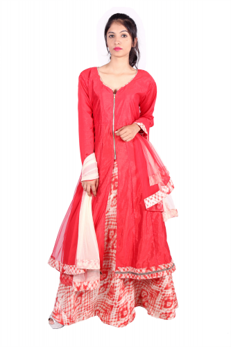 Red silk anarkali kurta with umbrella skirt