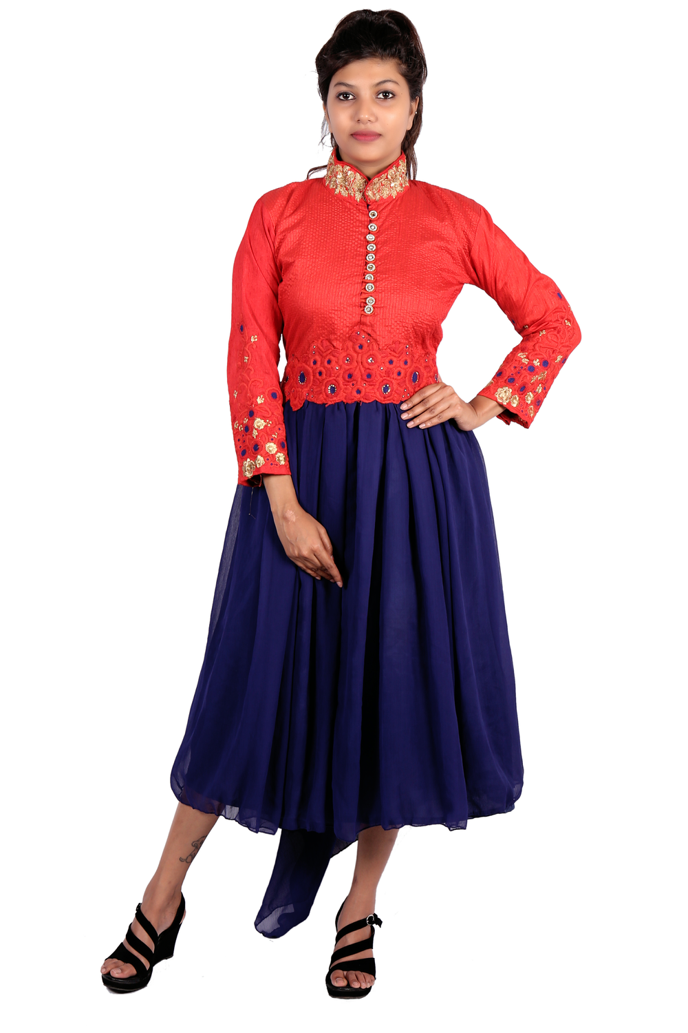 Long red embroidered kurta with blue bottom