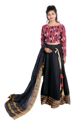 Ikat cotton crop top with black skirt and dupatta