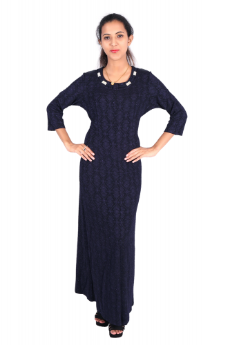 Dark navy blue dress with necklace design