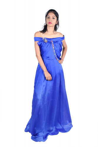 Royal blue off-shoulder gown with lace