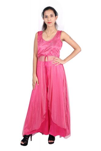 Long pink kurta with pink palazzo
