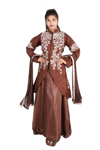 Brown three-piece dress with dupatta