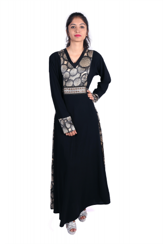 Long black kurta with lace on hands