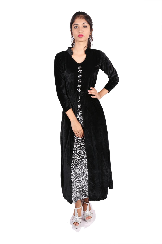 Long black velvet kurta