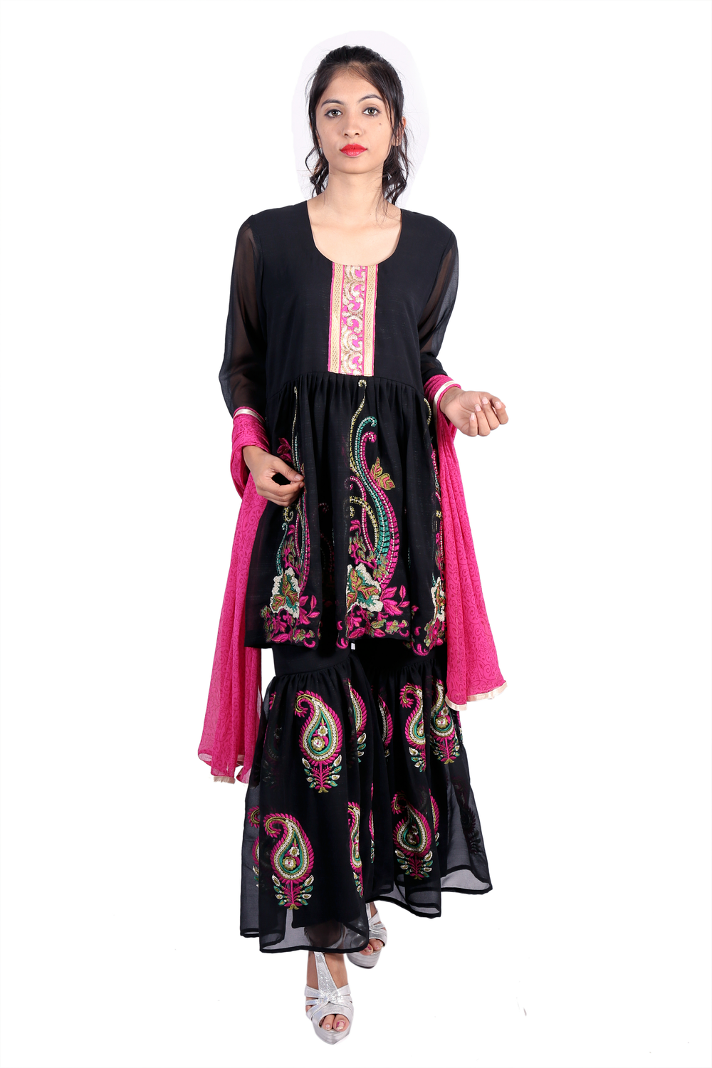 Black georgette sharara with embroidery