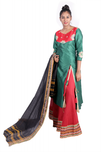 Green anarkali with maroon skirt and lace