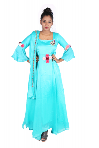 Turquoise green long gown