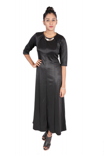 Long black dress with metal neckpiece