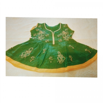 Kids Green Cotton Frock