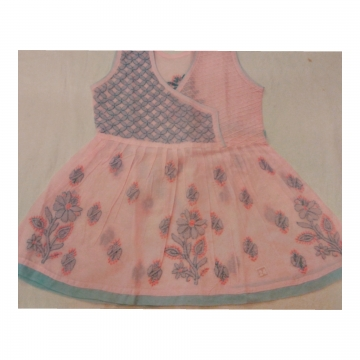 Kids Pink Cotton Frock