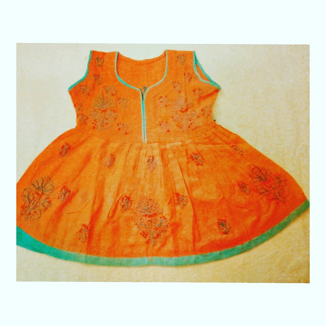 Kid's Peach Pink Cotton Frock