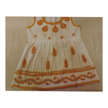 Kids White Cotton Frock