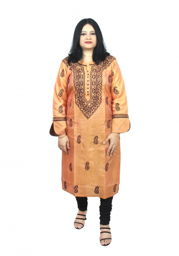 Chikanwork cotton silk Mustard Yellow kurta