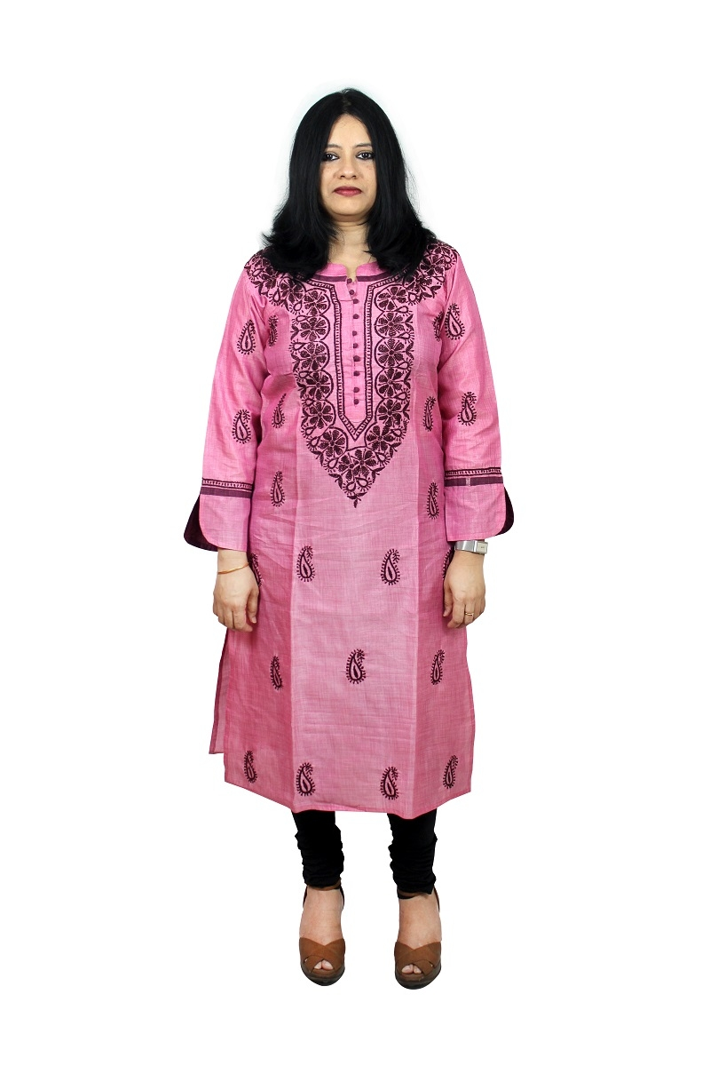 Chikanwork Onion Pink cotton silk kurta