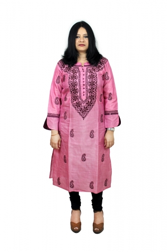 Chikanwork Onion Pink cotton silk kurta