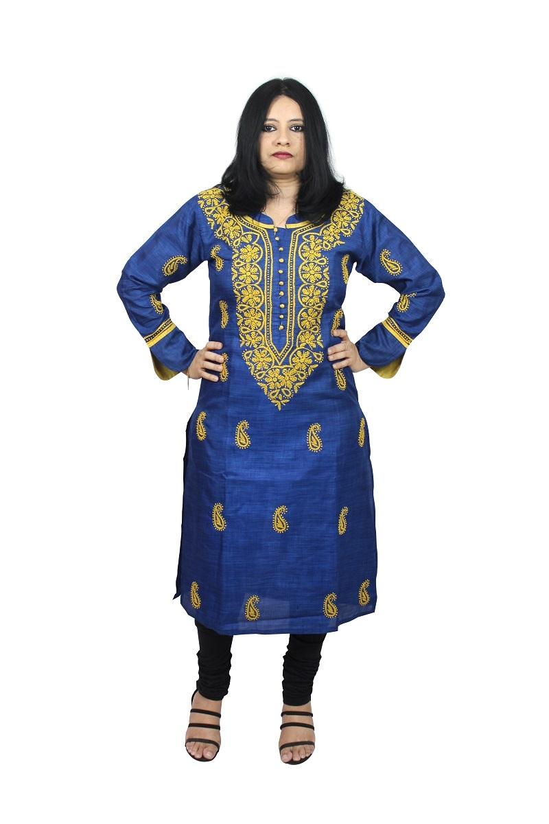 Chikanwork cotton silk Blue kurta