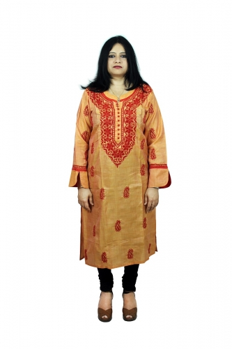 Chikanwork cotton silk  peach orange kurta