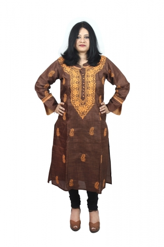 Chikanwork cotton silk Brown kurta