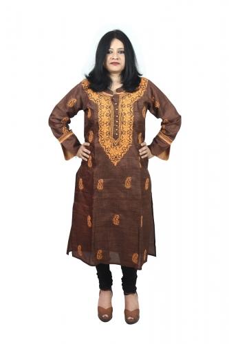 Chikanwork cotton silk Brown kurta