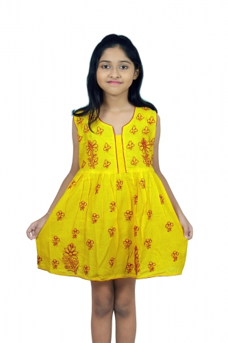 kids chikanwork yellow Frock