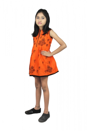 kids chikanwork orange Frock