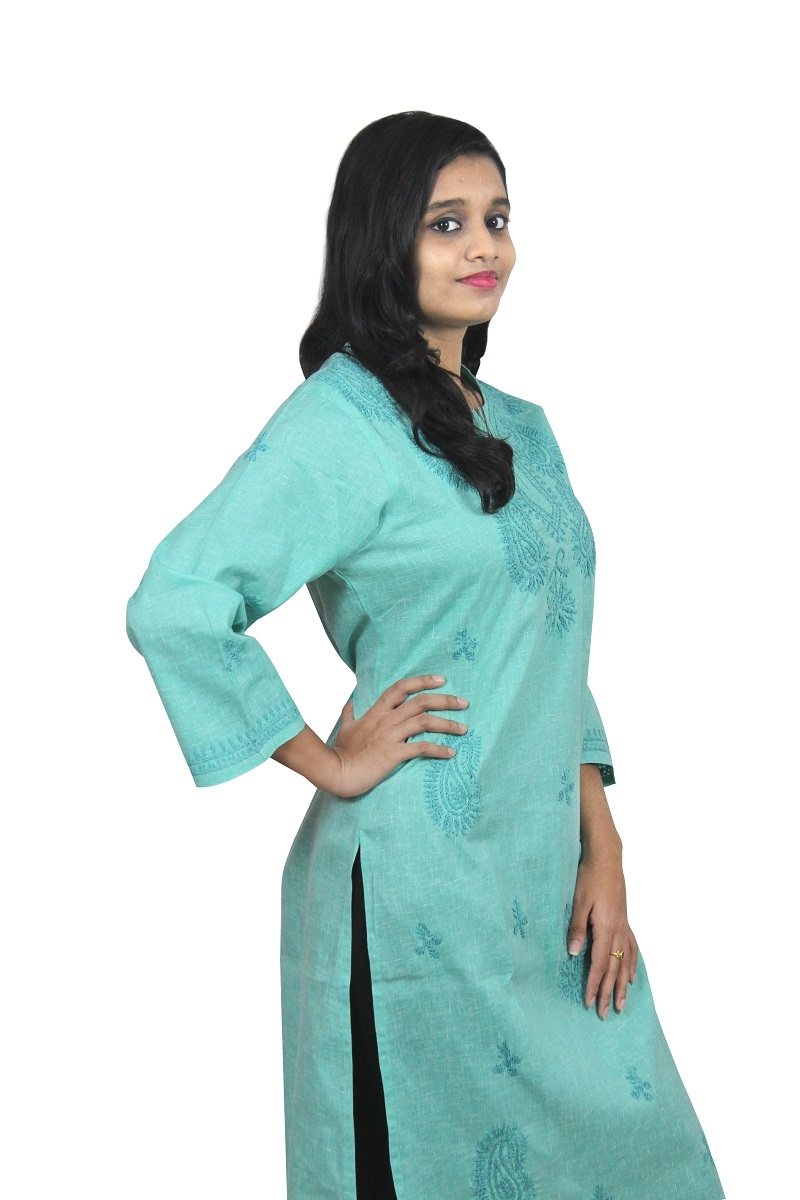 Chikanwork Khadi cotton Sea Green kurta