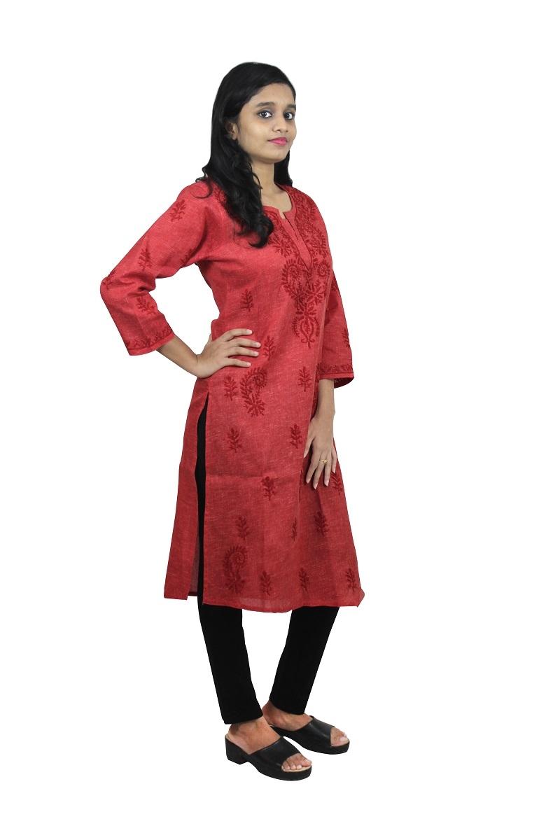 Chikanwork Khadi cotton Maroon kurta
