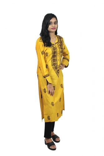 Chikanwork cotton silk  Yellow kurta
