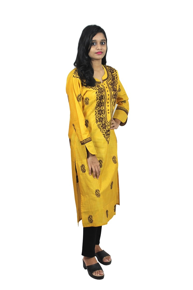 Chikanwork cotton silk  Yellow kurta