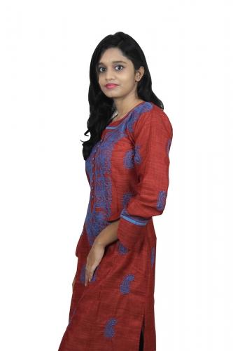 Chikanwork cotton silk Maroon kurta