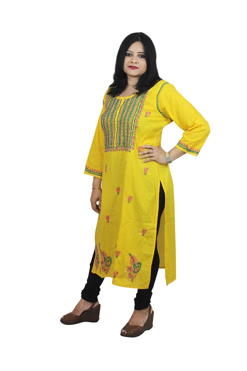 Chikanwork cotton Yellow kurta