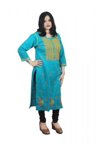 Chikanwork cotton Blue kurta