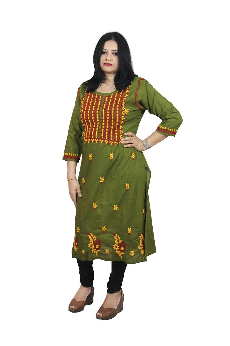 Chikanwork cotton Dark Green kurta