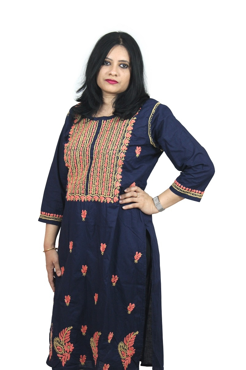 Chikanwork Cotton Dark blue kurta