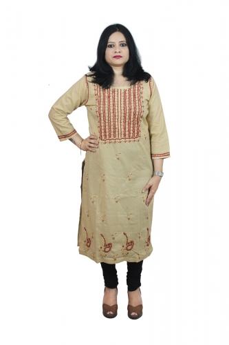 Chikanwork cotton Beige kurta