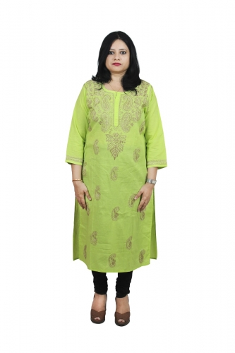 Chikanwork cotton Green kurta