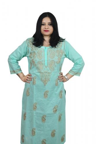 Chikanwork cotton Light Blue kurta
