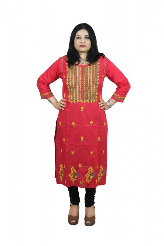 Chikanwork cotton Pink red kurta