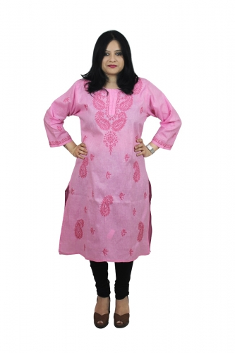 Chikanwork Khadi cotton Pink kurta