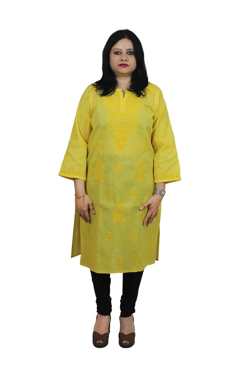 Chikanwork Khadi cotton Yellow kurta