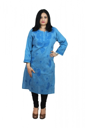 Chikanwork Khadi cotton Denium Blue kurta